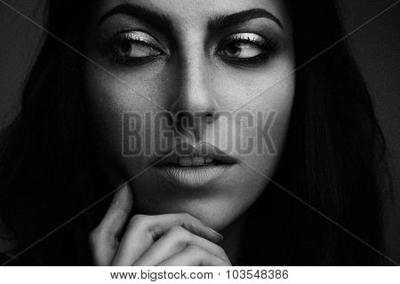 Woman's Black And White Closeup Portrait. Ideal Skin