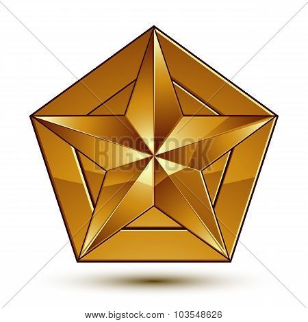 Heraldic 3D Glossy Icon Can Be Used In Web And Graphic Design, Golden Star, Clear Eps8