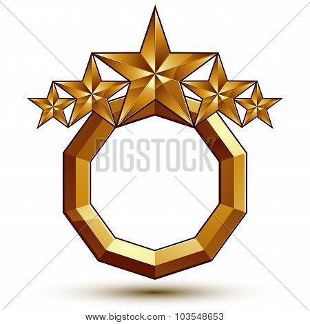 Sophisticated Vector Emblem With 5 Golden Stars, 3D Decorative Design Element, Clear Eps 8.