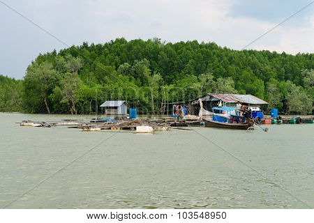 Float Fishing Village And Traditional Wooden Long-tail Boat, Thailand
