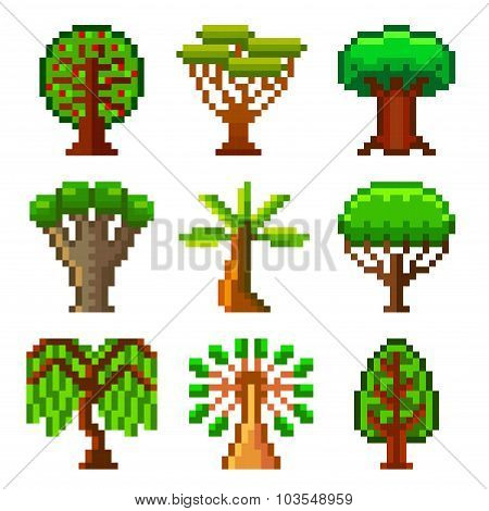 Pixel Trees For Games Icons Vector Set