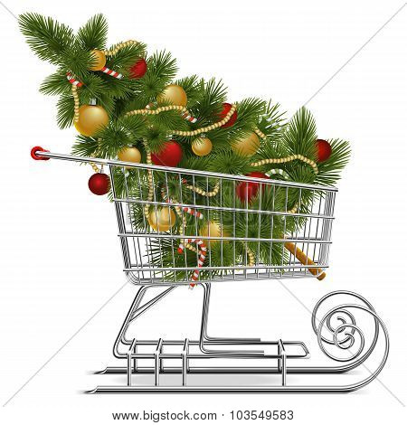 Vector Shopping Sled With Christmas Tree