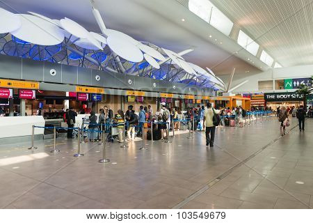 Travellers Queued Up At The Check In Counter Of Kuala Lumpur International Airport In Malaysia.