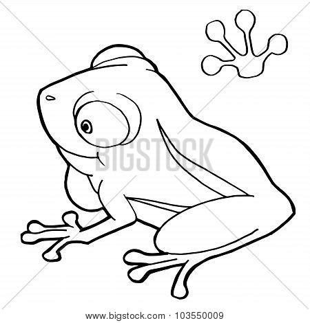 paw print with frog Coloring Page vector