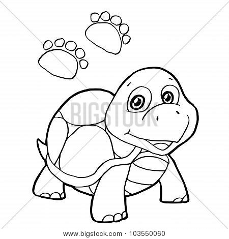 paw print with turtle Coloring Page vector