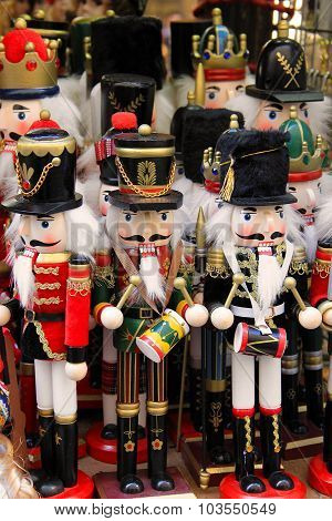Wooden nutcracker soldier toys in Prague