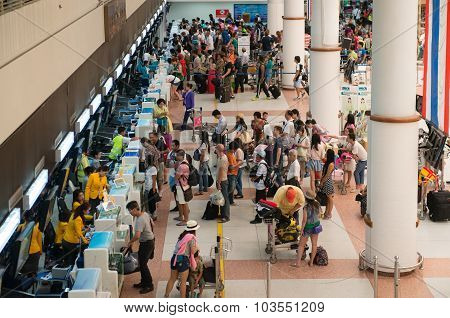 Passengers Registering On Check-in Desks The International Airport