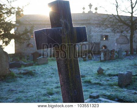 Stone Cross Frosty Morning in Graveyard