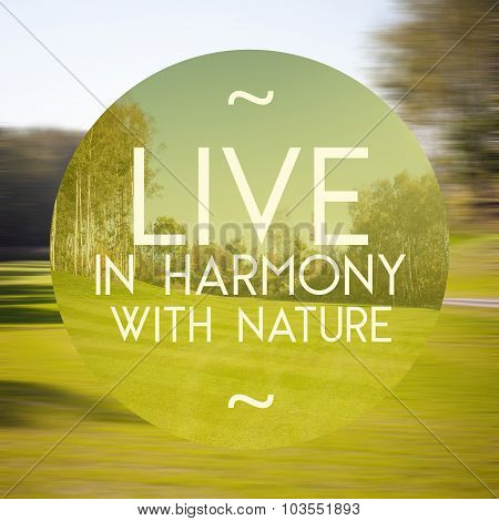 Live In Harmony With Nature Poster Illustration Of Natural Life