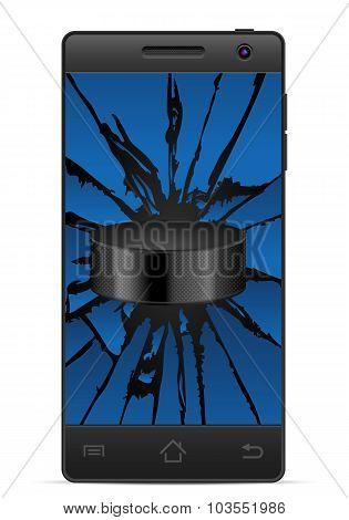Cracked Smart Phone Hockey
