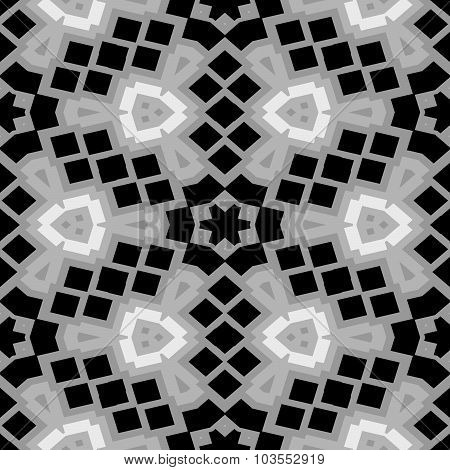 Black And White Floral Mosaic - Shades Of Grey - Seamless Pattern Texture