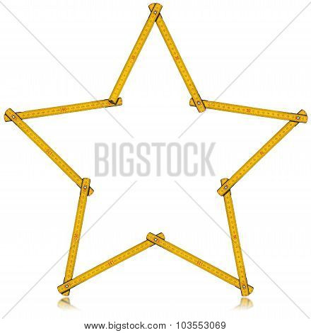 Wooden Folding Ruler Star Shaped