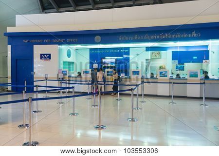 Vat Refund Counter At The Airport Where Tourists To Thailand Can Show Their Receipts To Get Back Sal