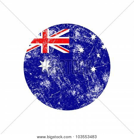 Illustration Vector Grunge Stamp Round Flag Of Australia Country.