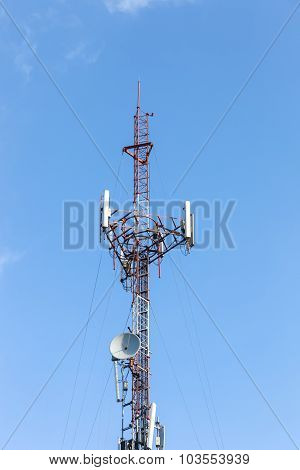 Antenna transmission tower with clear blue sky