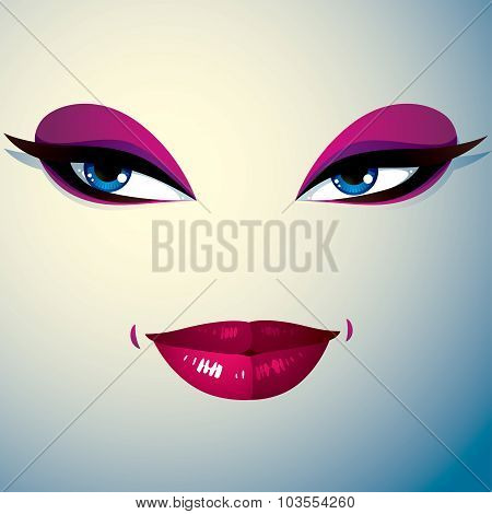 Cosmetology Theme Image. Young Pretty Lady. Human Eyes And Lips, Facial Expression, Passion