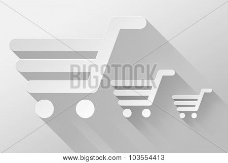 Shopping Cart And Sale Widget And Icon 3D Illustration Flat Design