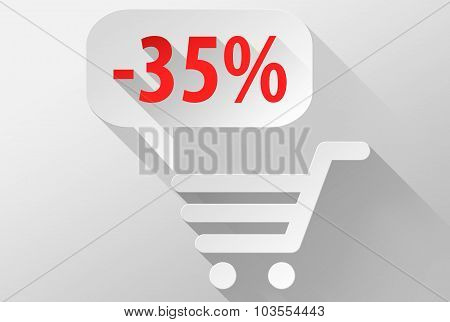 Shopping Sale 35% Widget And Icon 3D Illustration Flat Design