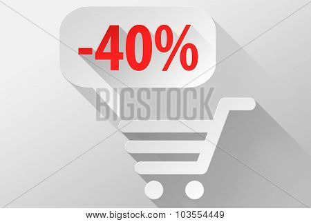 Shopping Sale 40% Widget And Icon 3D Illustration Flat Design