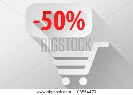 Shopping Sale 50% Widget And Icon 3D Illustration Flat Design