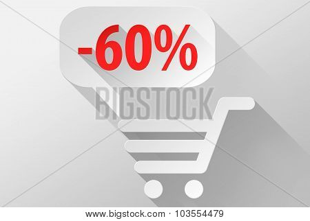 Shopping Sale 60% Widget And Icon 3D Illustration Flat Design