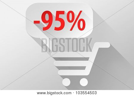 Shopping Sale 95% Widget And Icon 3D Illustration Flat Design
