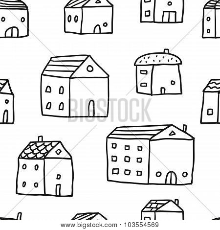 Cute Doodle Seamless Pattern With Sketch Houses