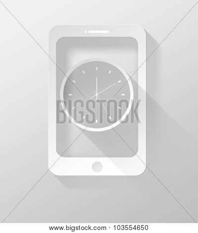Smartphone Or Tablet With Clock Icon And Widget 3D Illustration Flat Design