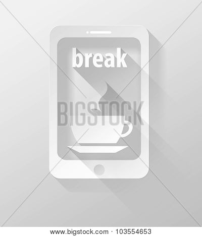 Smartphone Or Tablet With Coffee Time Icon And Widget 3D Illustration Flat Design