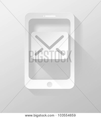 Smartphone Or Tablet With E-mail Icon And Widget 3D Illustration Flat Design