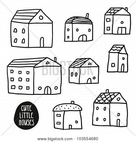 Set Of Cute Sketch Houses Isolated On White