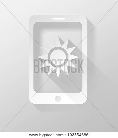 Smartphone Or Tablet With Weather Icon And Widget 3D Illustration Flat Design