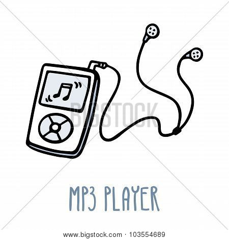 Mp3 Player. Cute Doodle Sketch Isolated On White