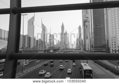 DUBAI - OCT 16: Dubai downtown on October 16, 2014. Dubai is the most populous city and emirate in the UAE, and the second largest emirate by territorial size after the capital, Abu Dhabi