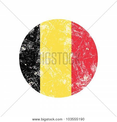 Illustration Vector Grunge Stamp Round Flag Of Belgium Country.