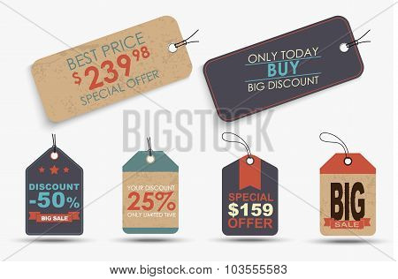 Set Of Retro Price Tags Of Different Shapes