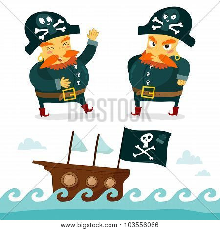 Cool Pirate Collection. Funny Pirate Character And Sea Background With Pirate Ship And Jolly Roger.