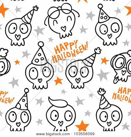 Funny Halloween Seamless Pattern With White Doodle Skulls And Stars Isolated On White