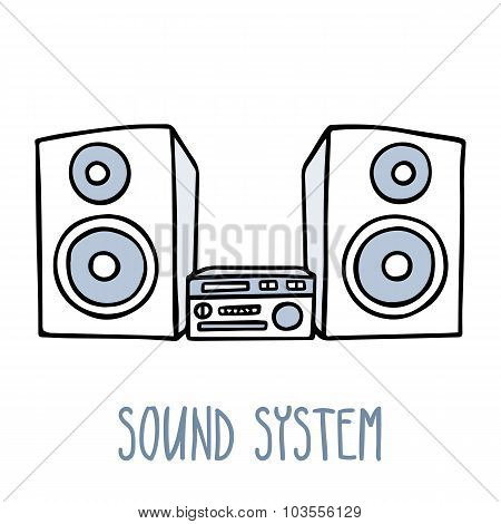 Sound System. Cute Doodle Sketch Isolated On White