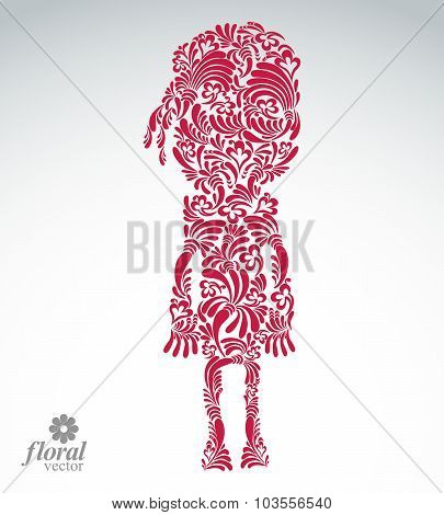 Beautiful Woman Standing, Vector Art Illustration Of A Cute Girl. Floral Image Of Female