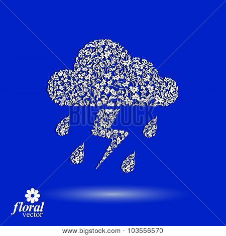 Thunder And Lightning Vector Meteorology Pictogram. Weather Forecast Flower-patterned Marking