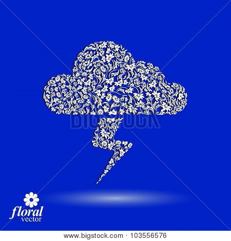 Thunder And Lightning Meteorology Pictogram. Weather Forecast Floral Simple Marking