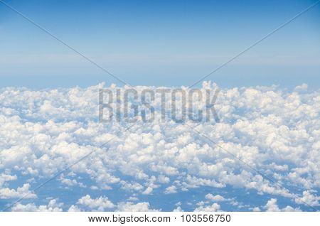 Cloud And Blue Sky View From Airplane