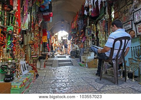 Jerusalem - Oct 28: Oriental Market In Old Jerusalem Offers Variety Of Middle East Products And Souv