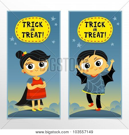 Trick Or Treat Halloween Banners With Boy And Girl In Cute Carnival Costumes