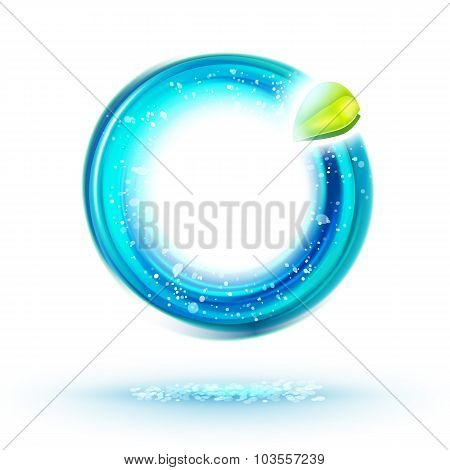 Abstract Green And Blue Energy Circle Label