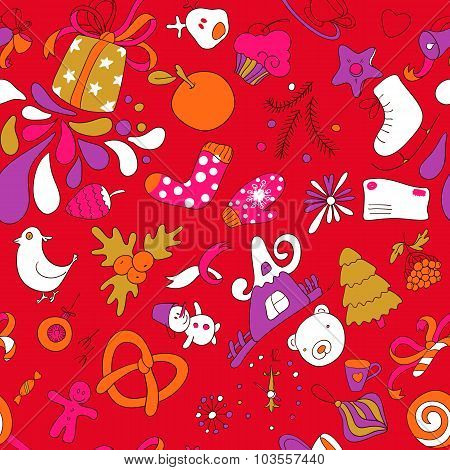 Colorful Seamless Vector Christmass Pattern Variant