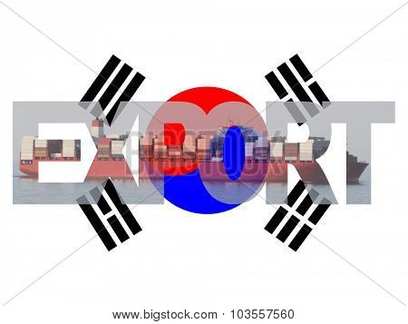 Container ship with export text and South Korean flag illustration