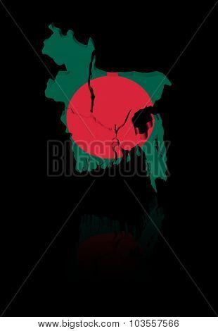 Bangladesh map flag with reflection illustration