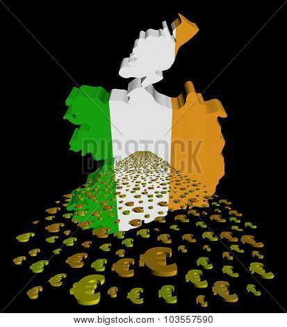 Ireland map flag with euros foreground illustration